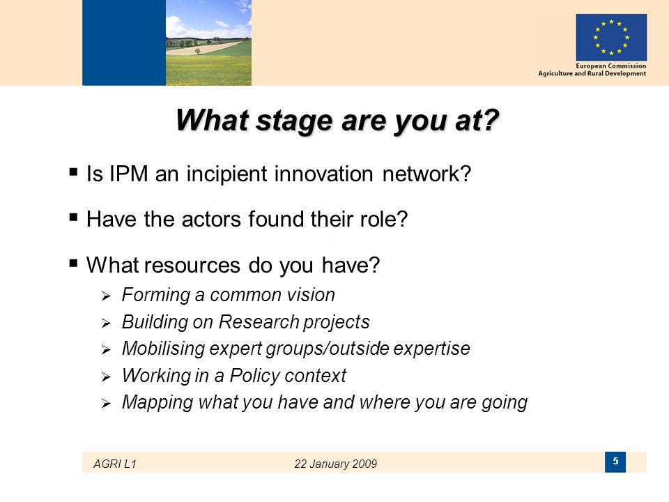 What stage are you at Is IPM an incipient innovation network