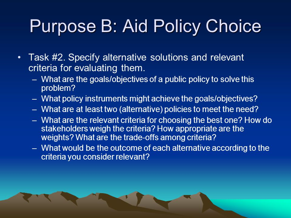 Purpose B: Aid Policy Choice