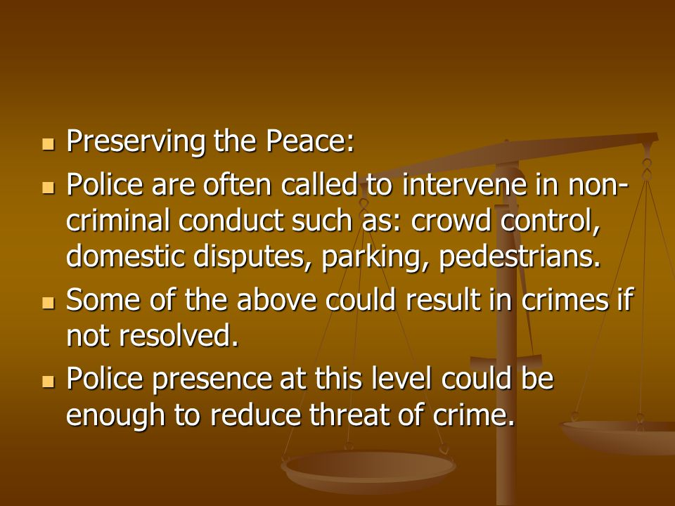 Preserving the Peace: Police are often called to intervene in non-criminal conduct such as: crowd control, domestic disputes, parking, pedestrians.