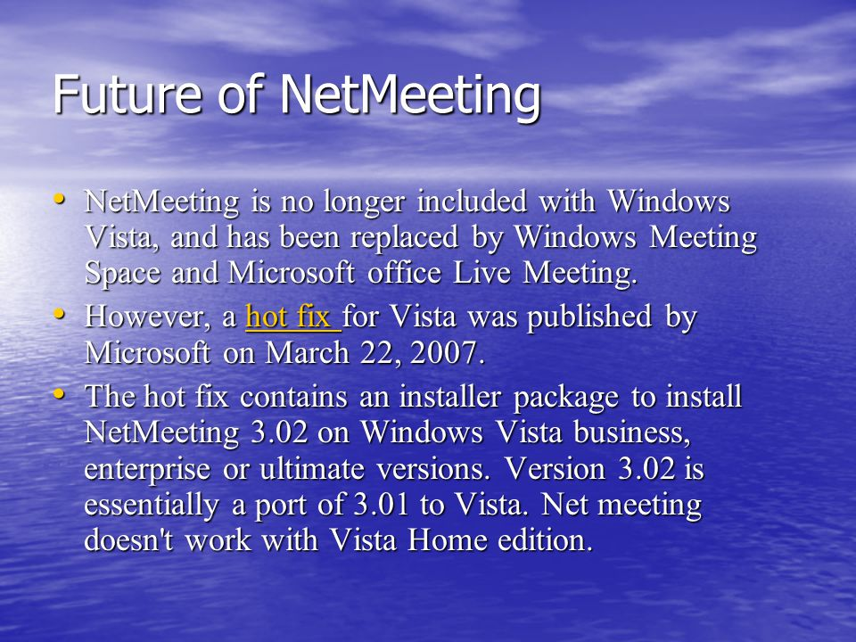 netmeeting livemeeting We know this individual uses live meeting can anyone tell me if java is required for live meeting- because if it is i think we can rest assured he will have it this is the web conference.