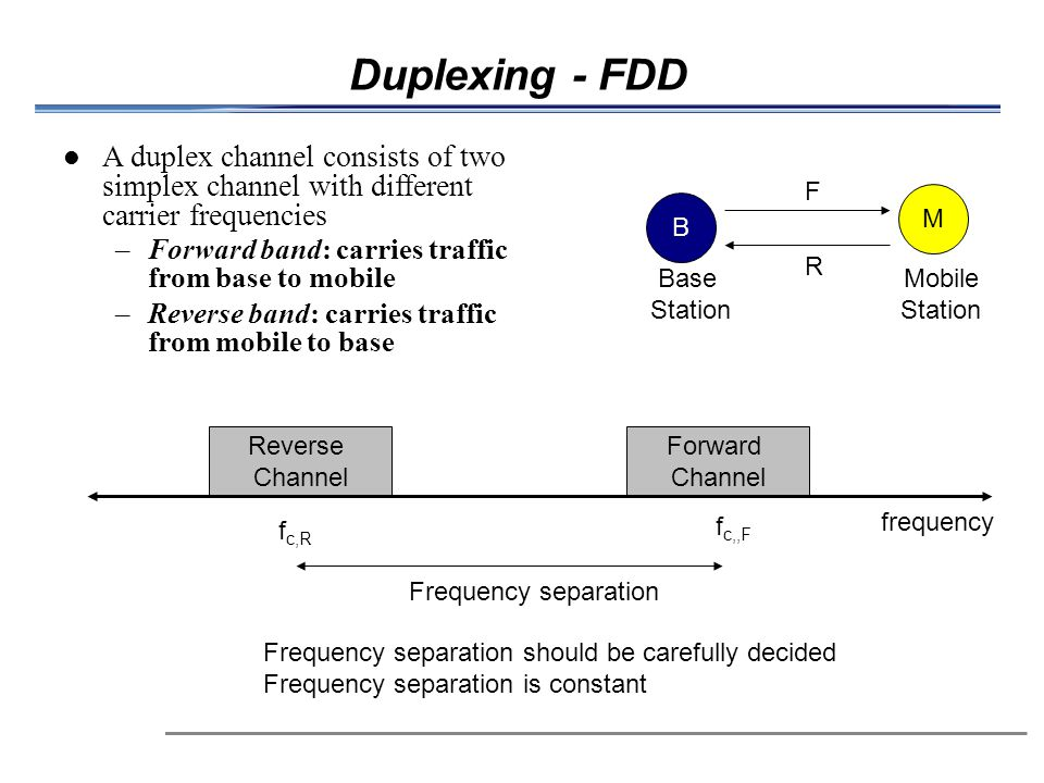 Duplexing - FDD A duplex channel consists of two simplex channel with different carrier frequencies.