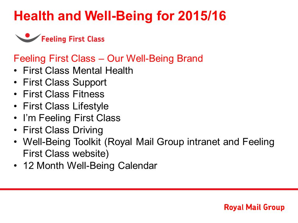 Health and Well-Being at Royal Mail Group - ppt download