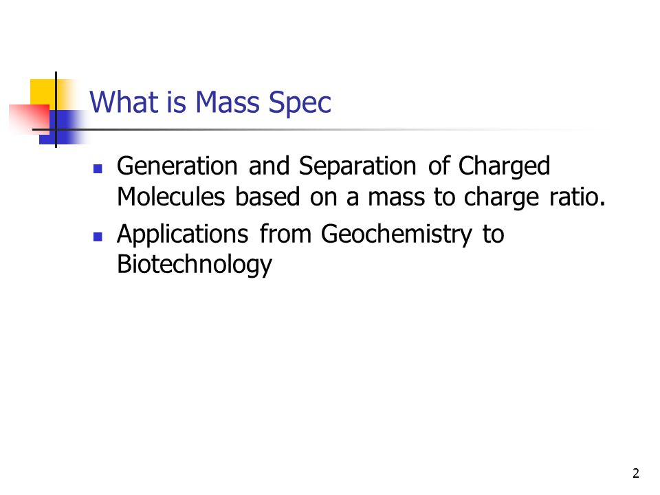 What is Mass Spec Generation and Separation of Charged Molecules based on a mass to charge ratio.