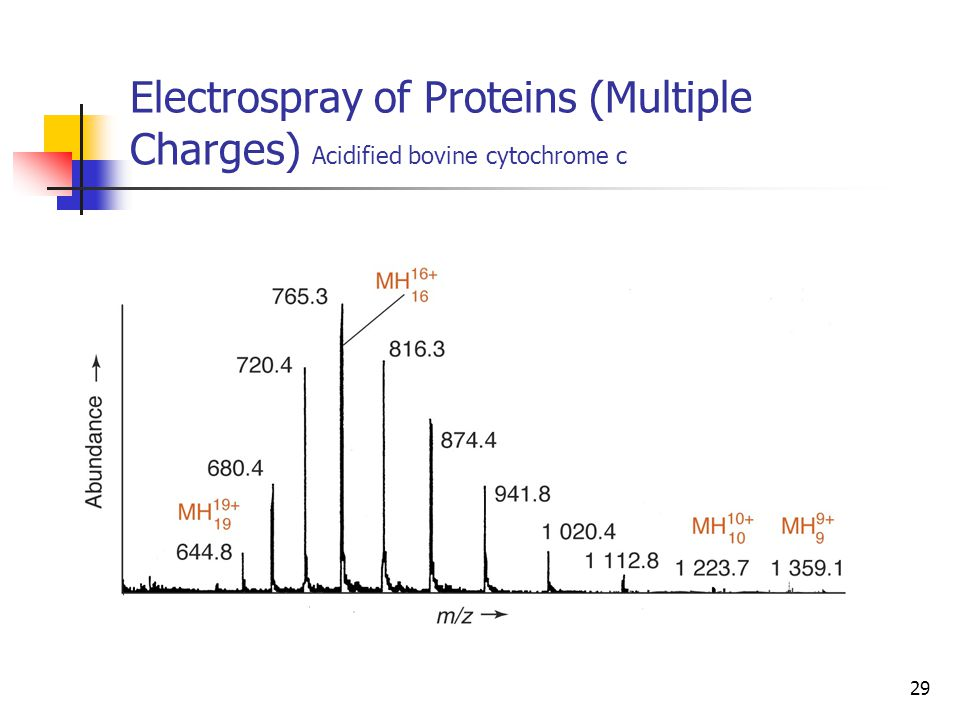 Electrospray of Proteins (Multiple Charges) Acidified bovine cytochrome c