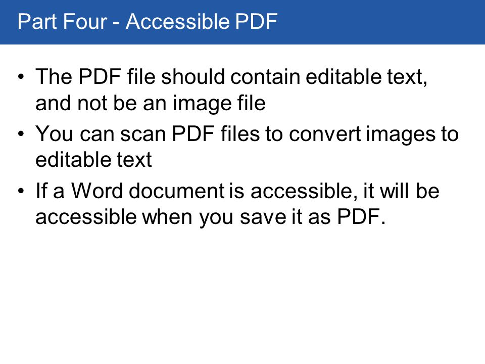 Creating accessible instructional materials ppt download for Accessible pdf documents