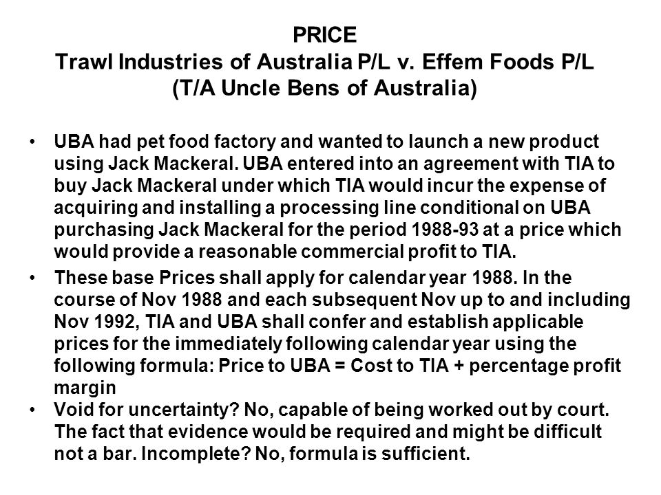 PRICE Trawl Industries of Australia P/L v