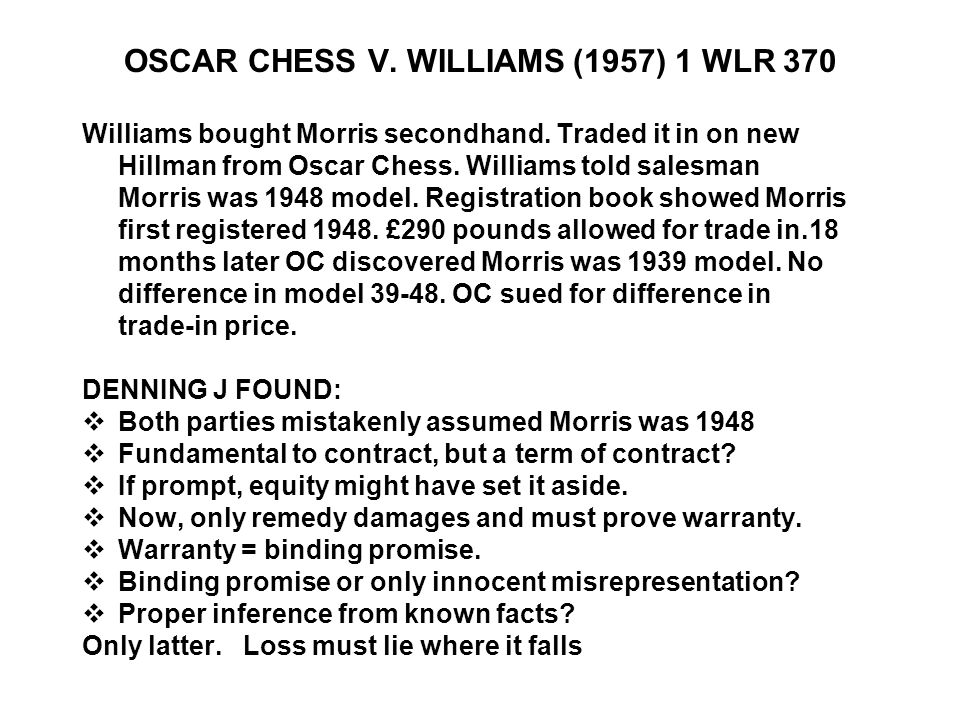 OSCAR CHESS V. WILLIAMS (1957) 1 WLR 370