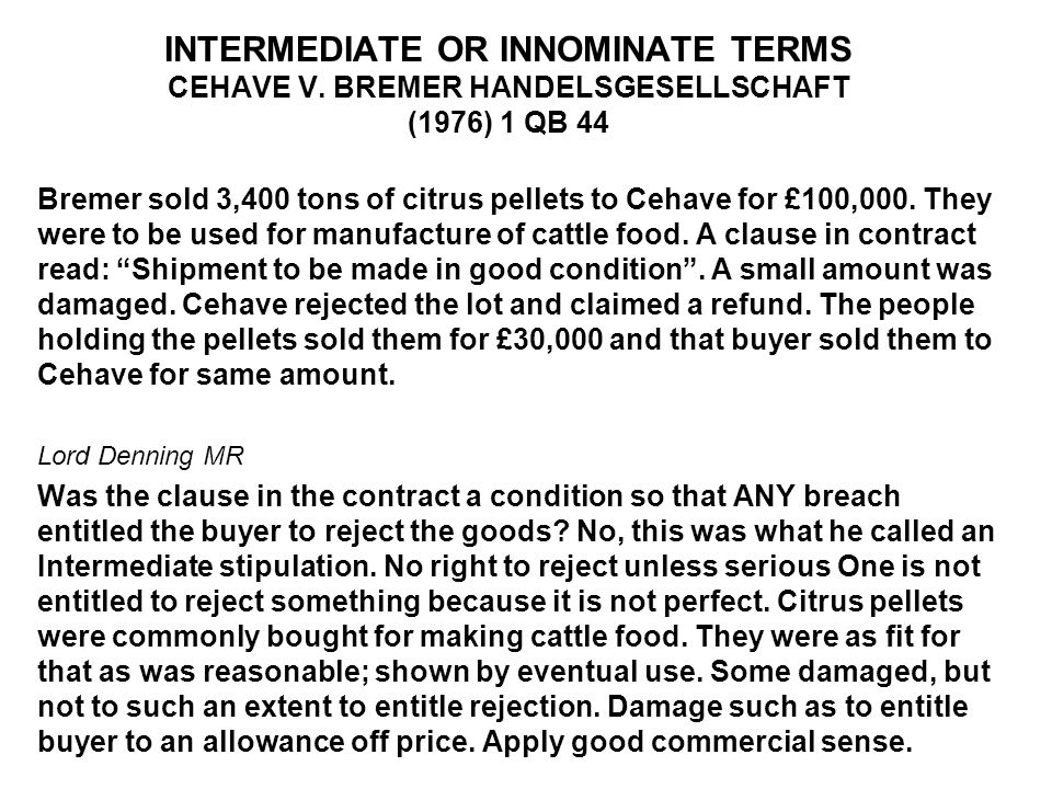 INTERMEDIATE OR INNOMINATE TERMS CEHAVE V
