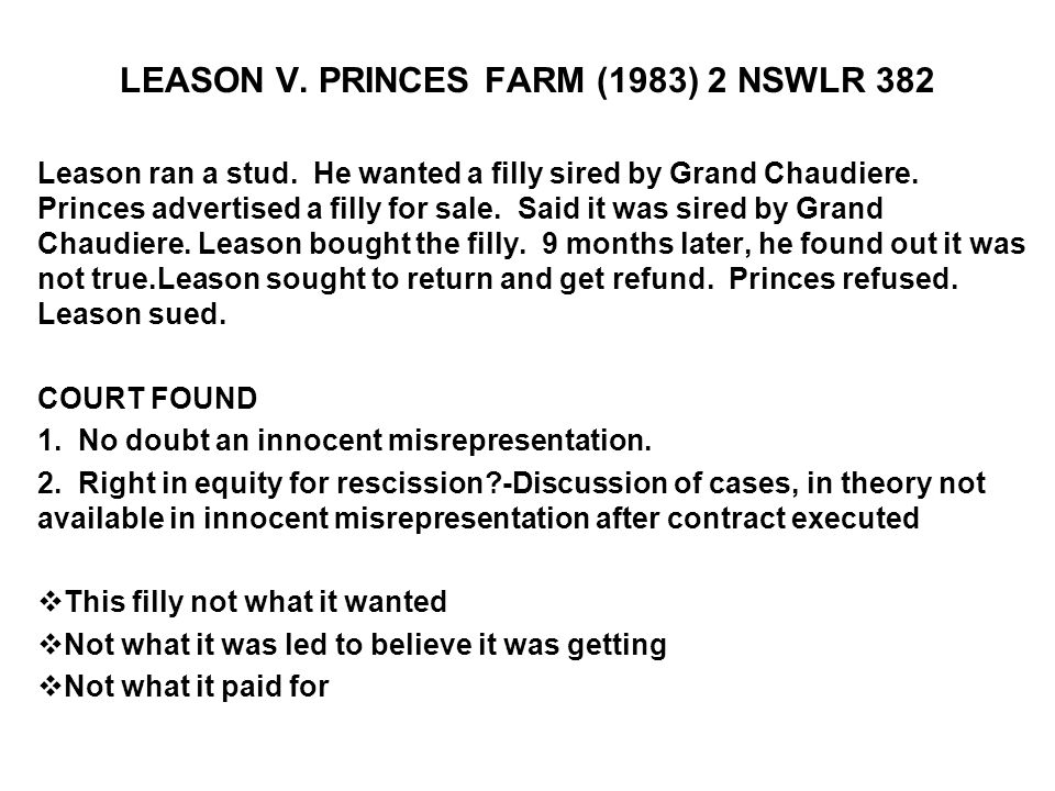 LEASON V. PRINCES FARM (1983) 2 NSWLR 382