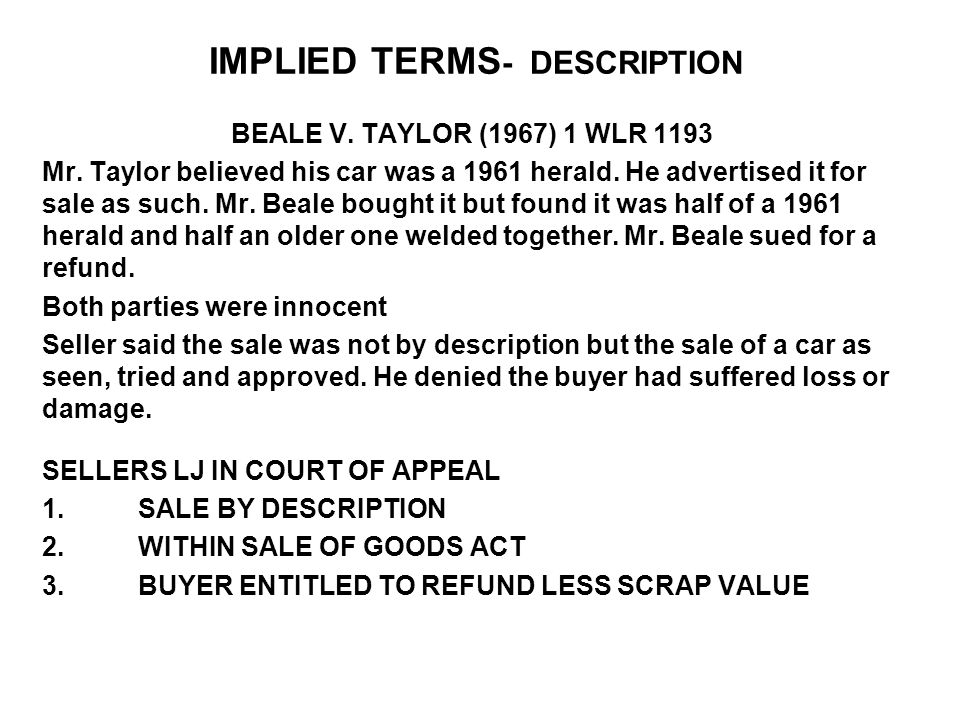 IMPLIED TERMS- DESCRIPTION