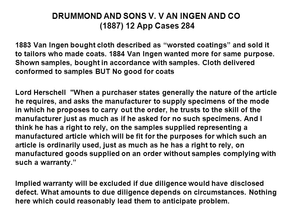 DRUMMOND AND SONS V. V AN INGEN AND CO (1887) 12 App Cases 284