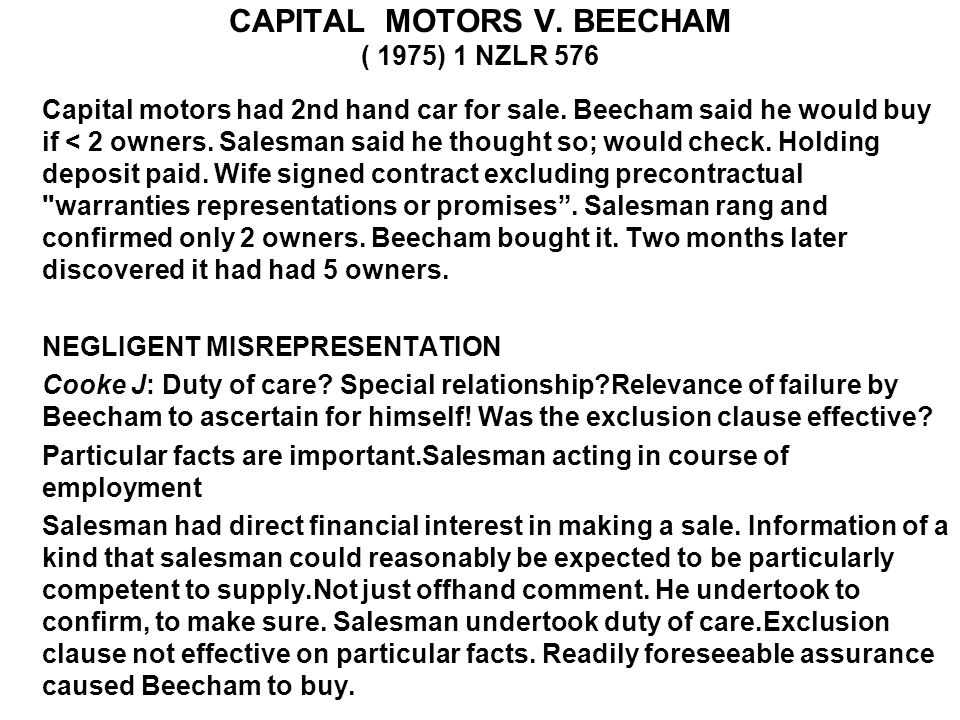 CAPITAL MOTORS V. BEECHAM ( 1975) 1 NZLR 576