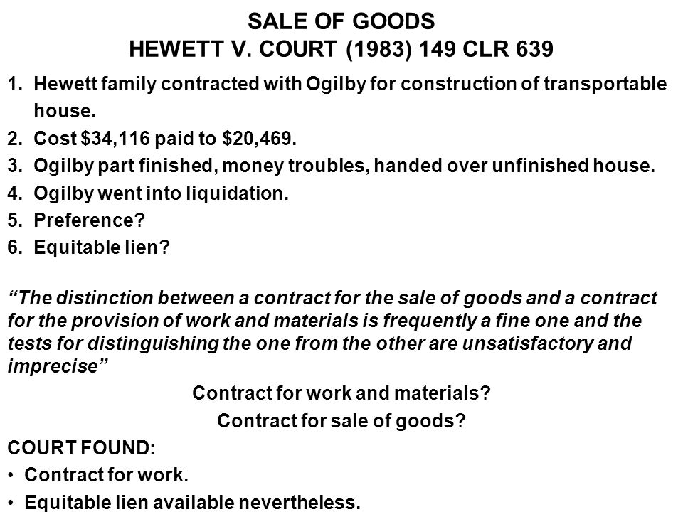 SALE OF GOODS HEWETT V. COURT (1983) 149 CLR 639