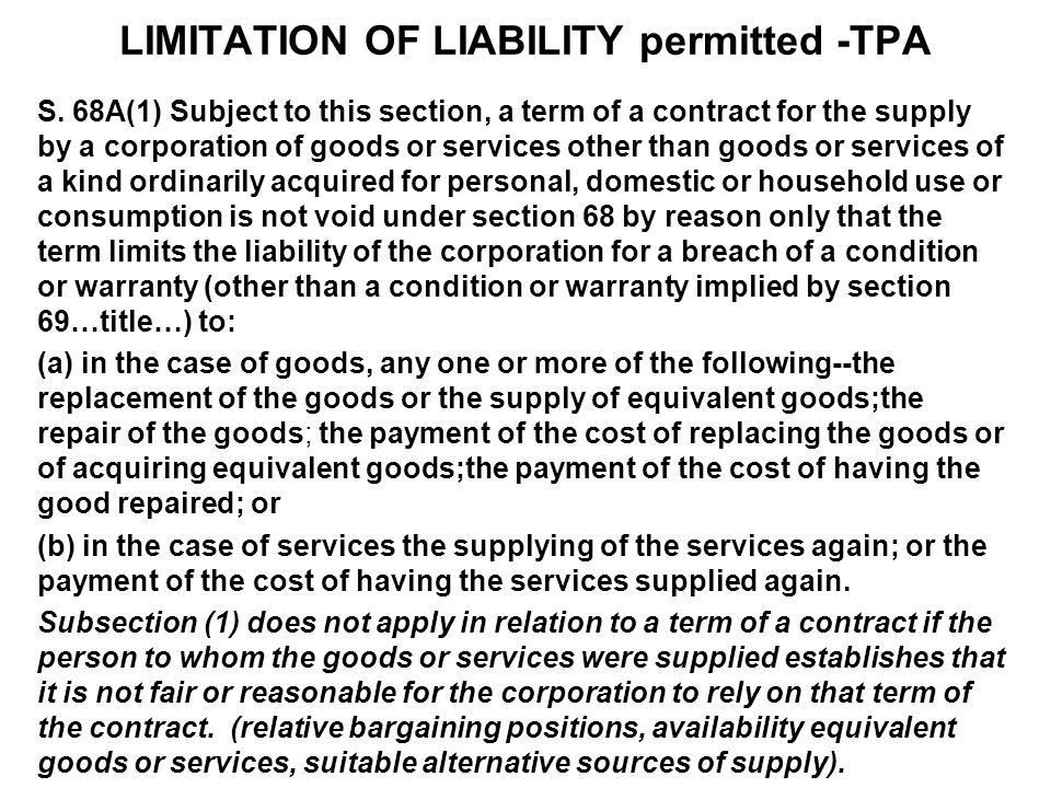 LIMITATION OF LIABILITY permitted -TPA