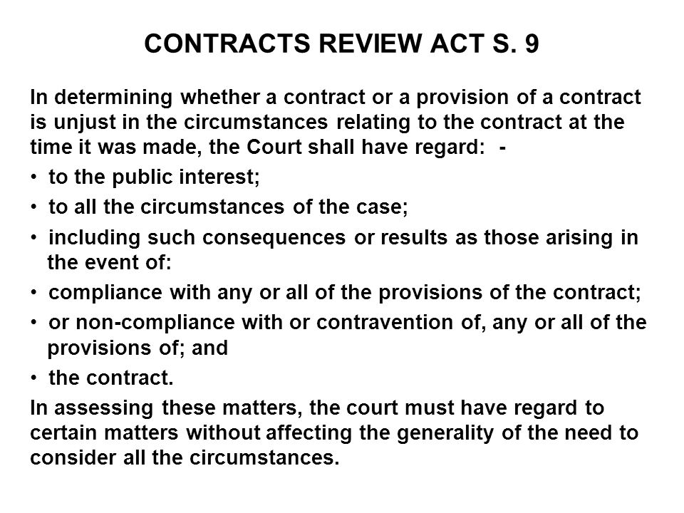 CONTRACTS REVIEW ACT S. 9