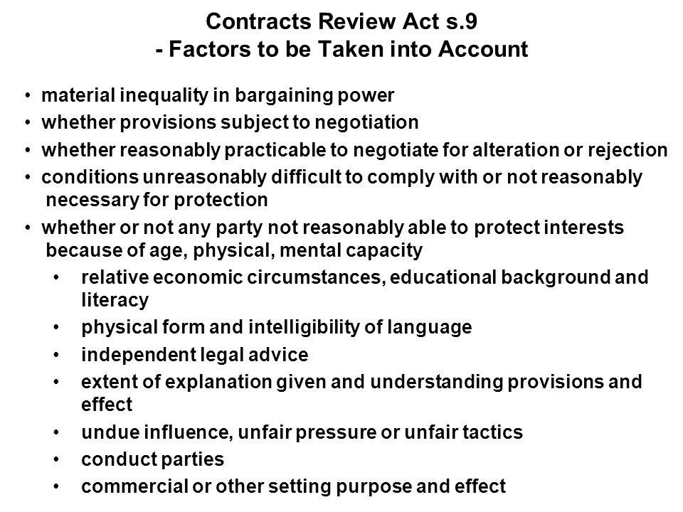 Contracts Review Act s.9 - Factors to be Taken into Account