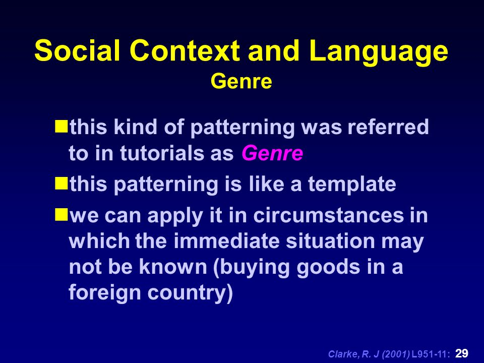 language and social context Learn more about the difference between social and academic language and take a look at some examples of academic language.