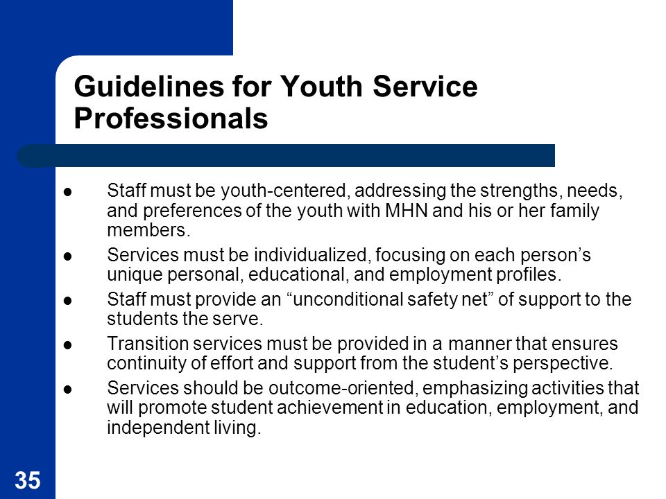 Guidelines for Youth Service Professionals
