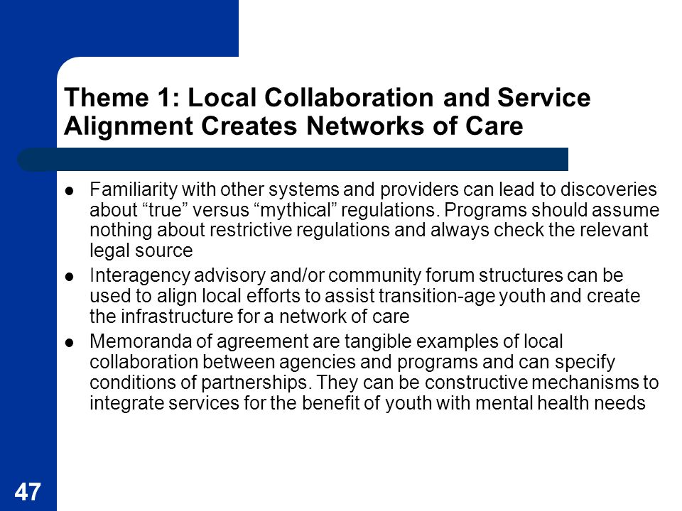 Theme 1: Local Collaboration and Service Alignment Creates Networks of Care