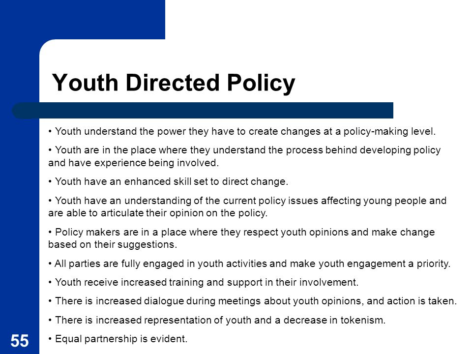 Youth Directed Policy Youth understand the power they have to create changes at a policy-making level.
