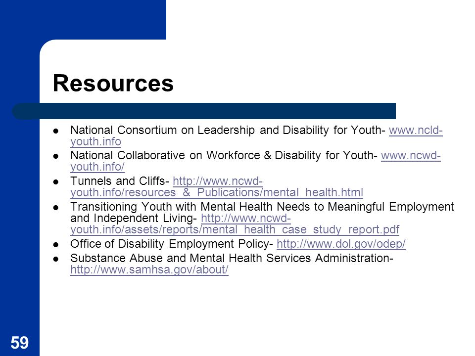 Resources National Consortium on Leadership and Disability for Youth- www.ncld-youth.info.