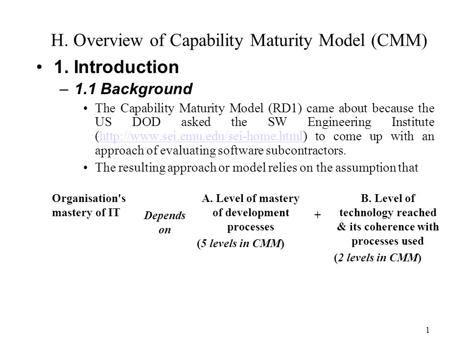 an overview of the capability maturity model The predictive capability maturity model (pcmm) is a new model that can be  used to  provided insightful review comments and suggestions for improving the .