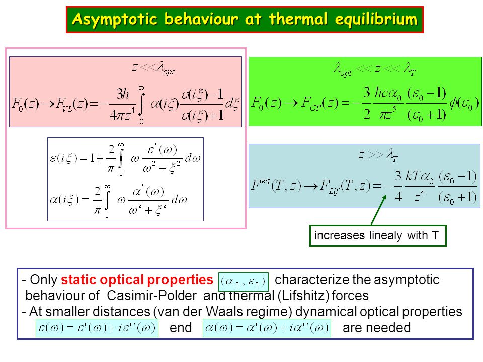 Asymptotic behaviour at thermal equilibrium