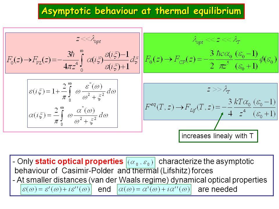 Asymptotic behaviour at thermal equilibrium