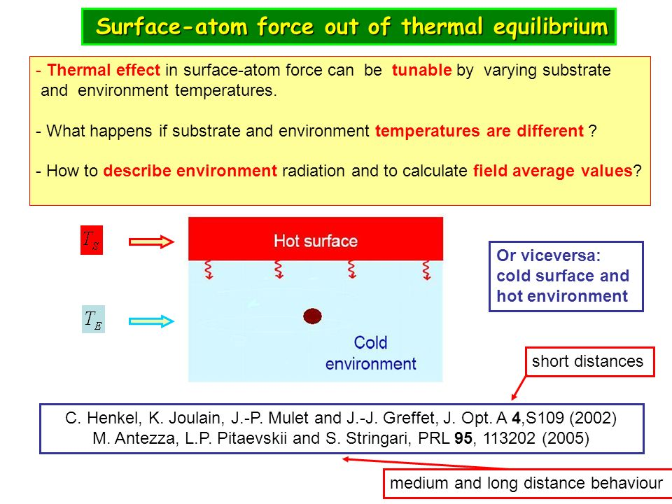 Surface-atom force out of thermal equilibrium