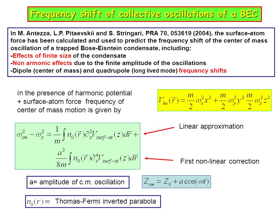 Frequency shift of collective oscillations of a BEC