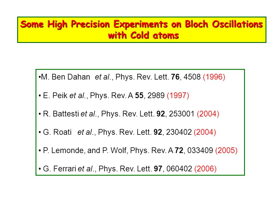 Some High Precision Experiments on Bloch Oscillations