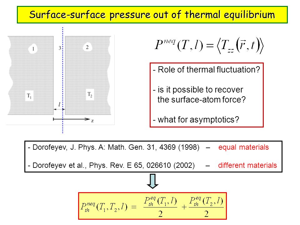 Surface-surface pressure out of thermal equilibrium