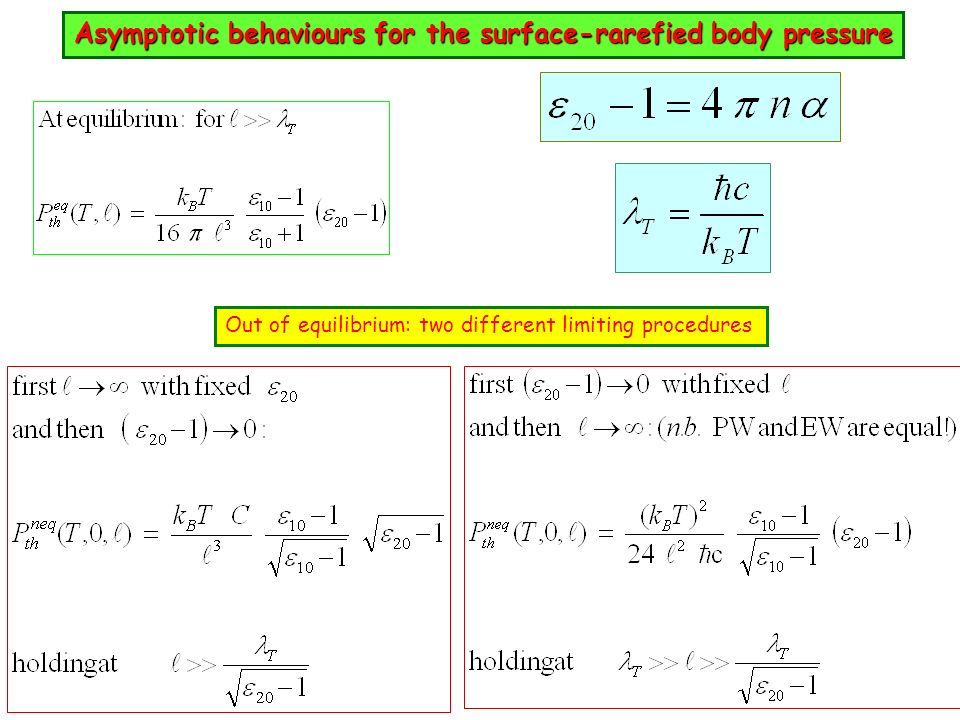 Asymptotic behaviours for the surface-rarefied body pressure