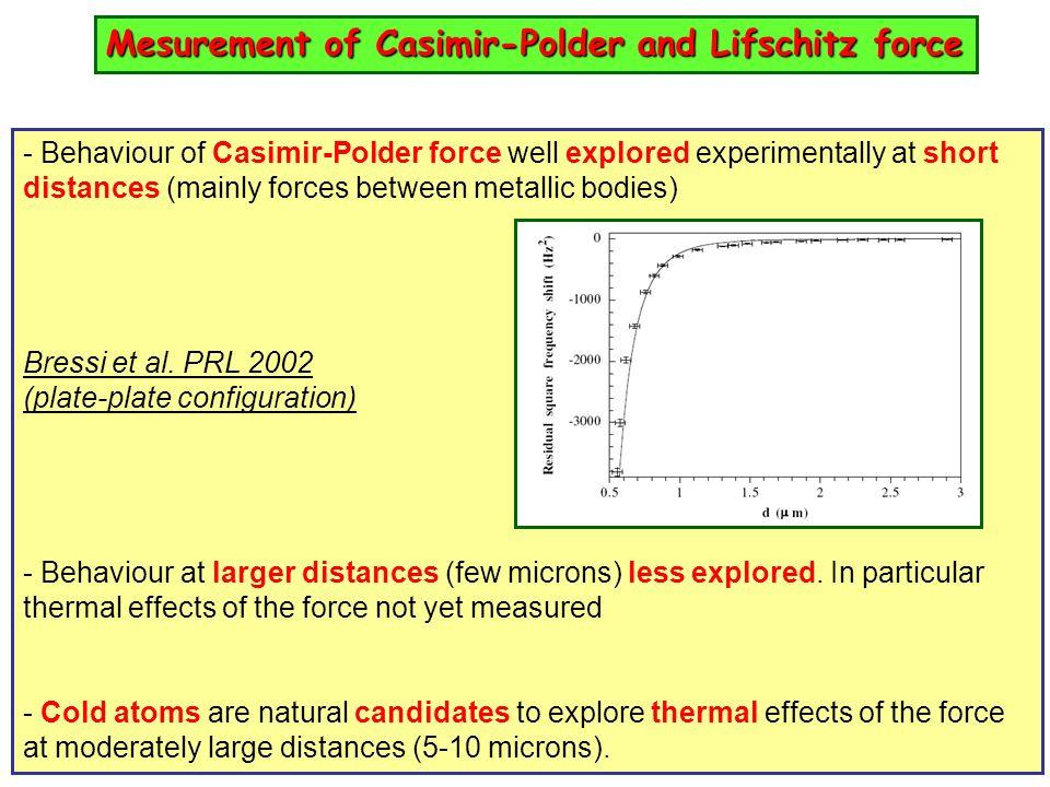 Mesurement of Casimir-Polder and Lifschitz force