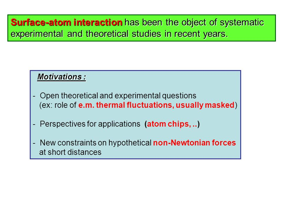 Surface-atom interaction has been the object of systematic experimental and theoretical studies in recent years.
