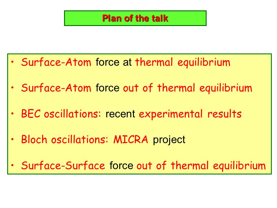 Surface-Atom force at thermal equilibrium