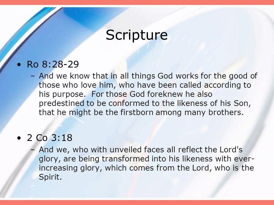 Scripture Ro 8:28-29.
