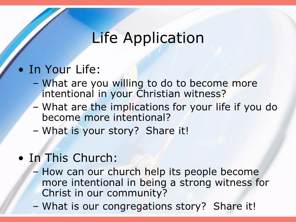 Life Application In Your Life: In This Church: