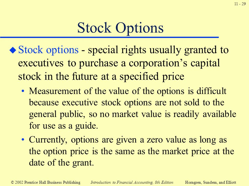 Stock options to executives