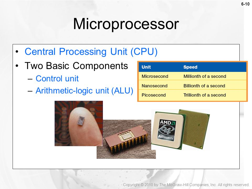 Microprocessor Central Processing Unit (CPU) Two Basic Components