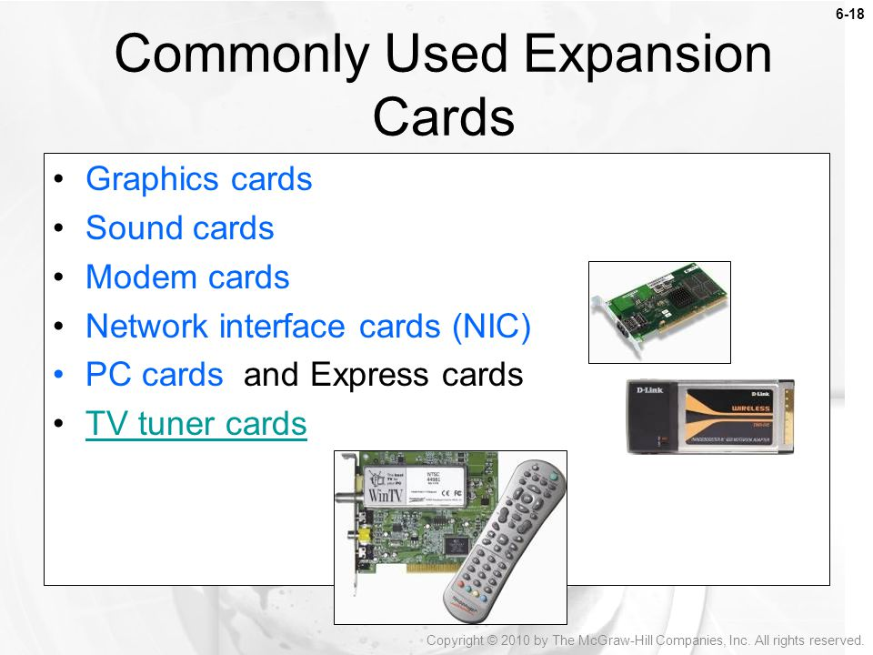 Commonly Used Expansion Cards