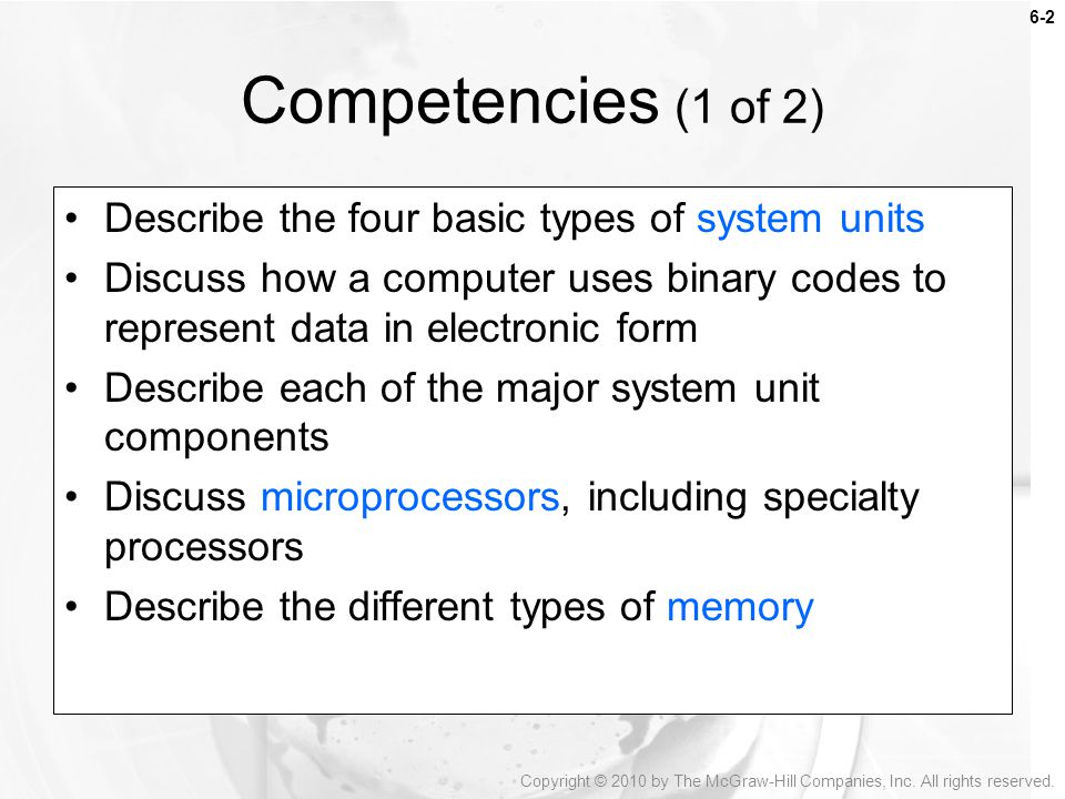 Competencies (1 of 2) Describe the four basic types of system units