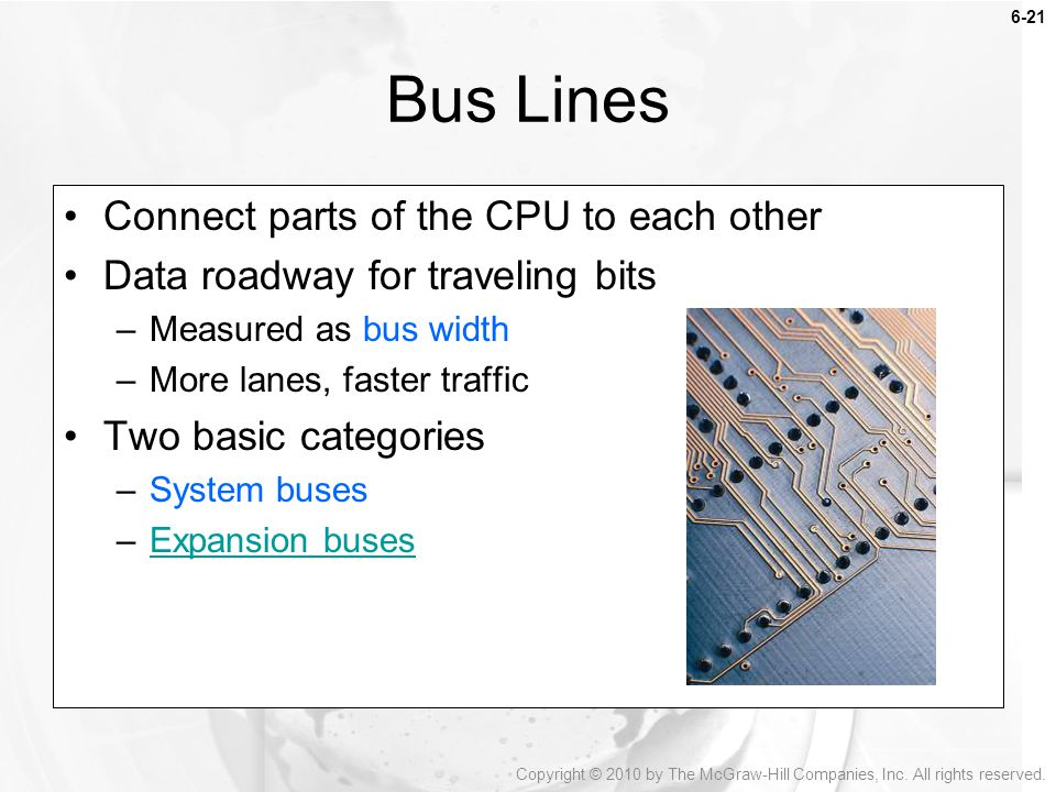 Bus Lines Connect parts of the CPU to each other