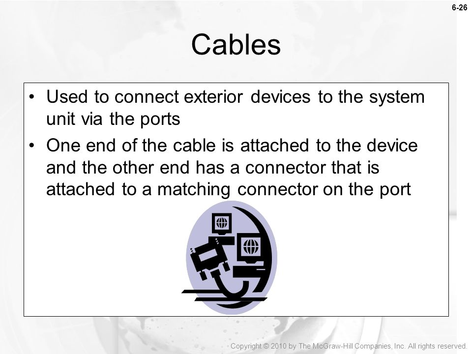 Cables Used to connect exterior devices to the system unit via the ports.