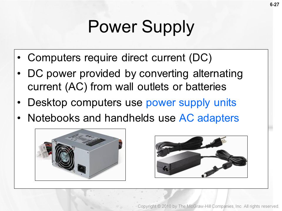 Power Supply Computers require direct current (DC)