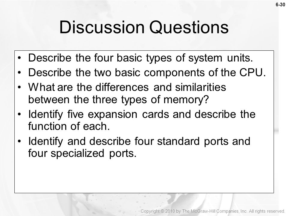 Discussion Questions Describe the four basic types of system units.