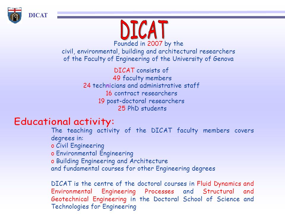 DICAT Educational activity: Founded in 2007 by the