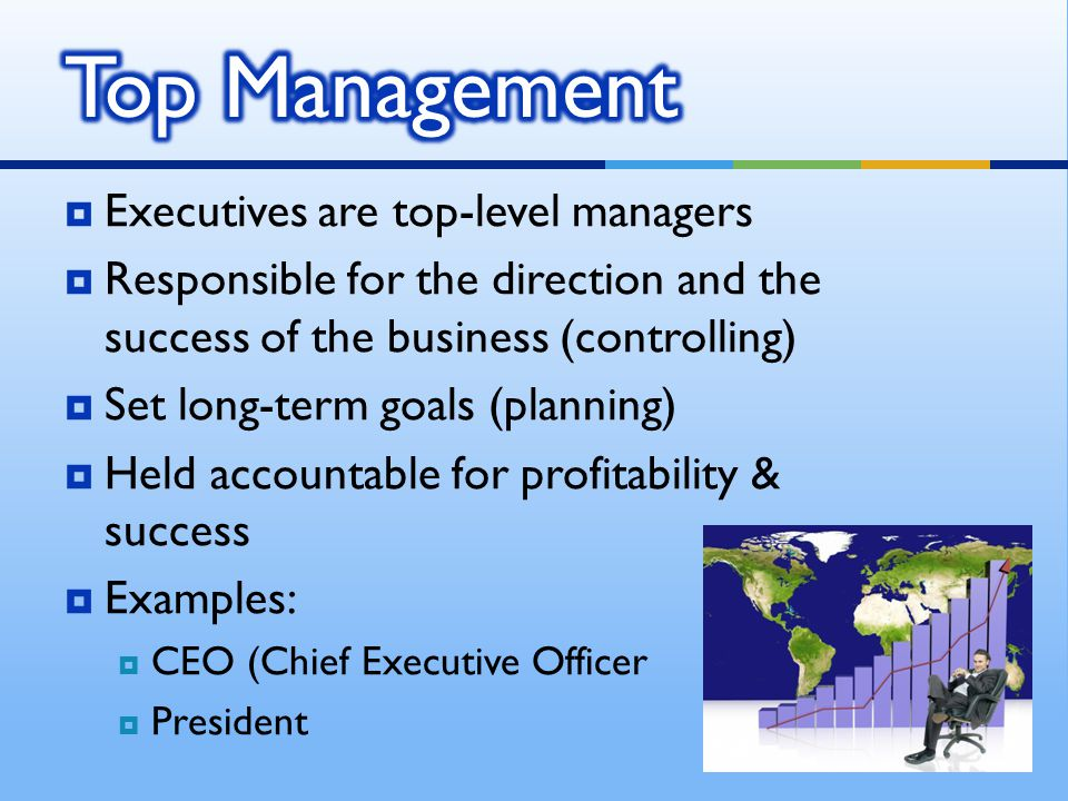 Top Management Executives are top-level managers