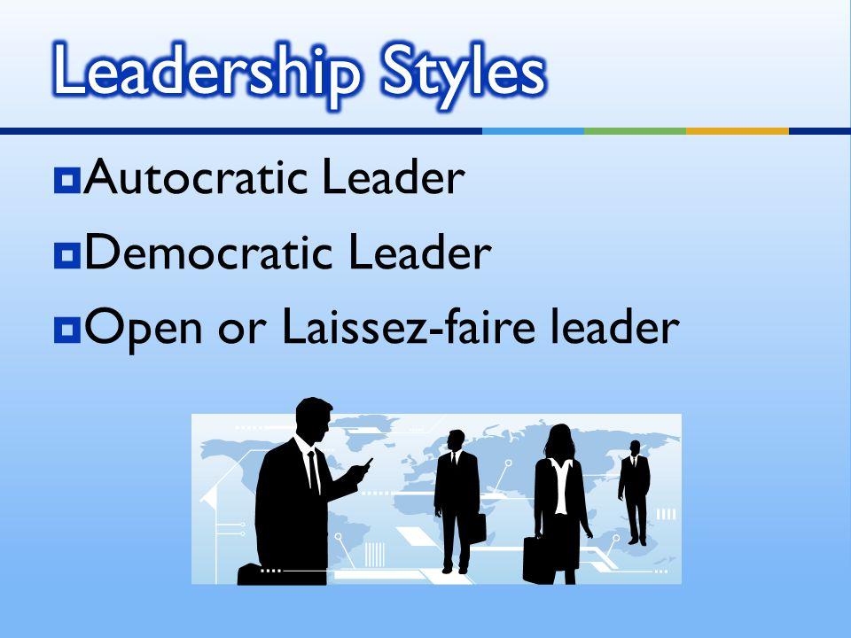 Leadership Styles Autocratic Leader Democratic Leader