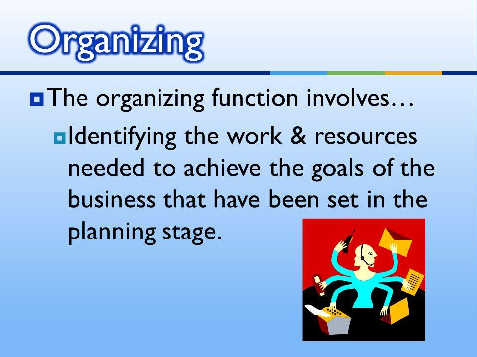 Organizing The organizing function involves…
